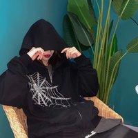 Women's Jackets Strass aranha web hoodie feminino gtico punk preto com zper jaqueta casaco harajuku oversized capuz camisolas emo alt roupas AM97