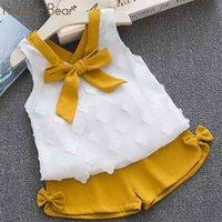 유머 곰 아기 소녀 옷 패션 S 의류 세트 아이 유아 귀여운 활 T- 셔츠 + 바지 여름 세트 210727