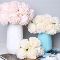 5 pc big peony artifcial flor de seda casamento buquê decoração branco peônia casa exposição falsificada flor pack coração peônia rosa rosa