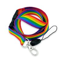 Rainbow Stripes Lanyard Neck Strap Rope Mobile Cell Phone ID Card Badge Holder With Keychain Keyring Anti-lost 12pcs Designer 210409