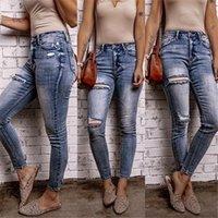 Женские джинсы 2021 осень ретро стиль женщина разорвал белечьего улицы повседневные стройные сексуальные джинсовые брюки карандаш растягиваемые брюки S-2XL одежда