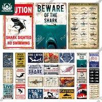 Putuo Decor Shark Signe Metal Signes vintage panneau d'étain drôle AVERTISSEMENT AVERTISSEMENT Poster pour Bar Pub Cuisine Club Homme Cave Cave Décoration murale