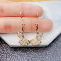 flash hook super New copper Ginkgo Leaf Earrings Korean design sense inlaid with diamond earrings women's net red temperament personalized