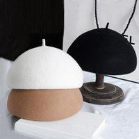 100% laine feutre hiver béret solide chaud beanies casquette classique français style béret femme bonnet bonnet chapeau fascinator chapeau