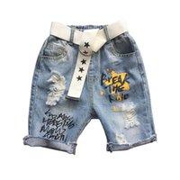 Boys Shorts Children Summer Kids Clothes Denim Hole Jeans Harem Pants Belts 2Pcs Letter 2-6Y B5151
