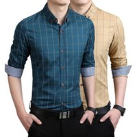 Men's Dress Shirts Zogaa Men Plaid Shirt Spring Autumn Business Office Long Sleeve Slim Fit Blouse Formal Turn-down Collar Tops