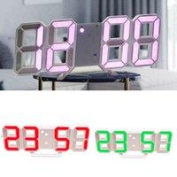 Originalidad Relojes de alarma 3D LED Número de pared Reloj de pared Dormitorio Horloge Marco blanco Palabra Colorida Decorar el temporizador multifunción DWA8291