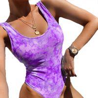 Fashion Tie Dye Casual Elastic Bodysuit Women 2021 Summer Female High Leg Romper Bodysuits Women's Jumpsuits & Rompers