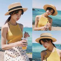 2020 여성용 여름 모자 여성용 태양 모자 여자 짚 리본 활 비치 뼈 플랫 탑 파나마 모자 부모 - 자식 모자 MZ006
