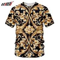 Ujwi Marca Hombres Flor de Oro Camiseta Verano Impresión 3D T-shirt Homme Sleeve Corta Luxury Royal Barroque Ropa Tops 210707