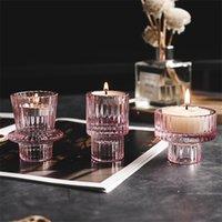 촛불 홀더 노르딕 핑크 유리 촛대 유럽 촛불 테이블 스탠드 로맨틱 발지 홈 장식 GWA9610