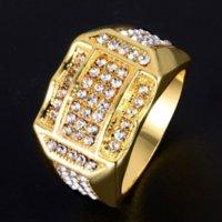 Hip Hop Hip Hop Diamond Rings Full Crystal Gold Band Anillos para mujeres Hombres Estilo de motocicleta Joyería de moda Will y Sandy