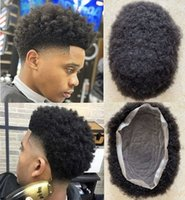 Afro Kinky Curl Mens Wig Indian Remy Human Hair Replacement 4mm Full Lace Toupee for African American Basketbass Players and Fans Fast Express Delivery