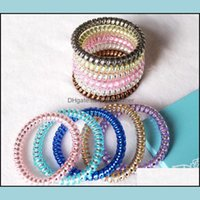 Aessories & Tools Productswomen Colorf Hairband Girl Candy Color Headband Telephone Cord Elastic Ponytail Holders Hair Ring Diameter 5Cm Shi