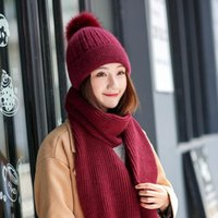 Hats, Scarves & Gloves Sets Winter Warm Solid Scarf And Hat Lady's Thick Red Fashion Knitted Pompom Beanie For Girl 2021 Designer