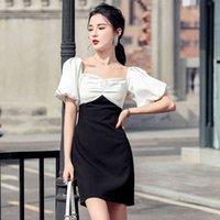 платье llzacoosh дизайн летние женщины квадратный воротник фонарик рукав шик контрастный цвет шить повседневная мини