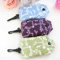 Storage Bags Square Shopping Bag 190T Eco-friendly Folding Reusable Portable Shoulder Handbag Polyester for Travel GroceryBags