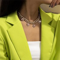 Pendant Necklaces Punk Hip Hop Cuban Link Chain Heart Choker Necklace Iced Out Rapper Crystal Fashion Bling Rhinestone Jewelry