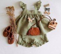 الرضع الاطفال القطن الكتان الملابس مجموعات طفل الفتيات falbala يطير كم اللباس + غير النظامية كشكش مريحة السراويل 2 قطع الصيف الطفل لينة الأميرة تتسابق Q0444