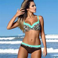 YICN Seksi Baskı Mayo Kadınlar Bikini Set Yeni Push Up Biquini Kadın Mayo Brezilyalı Mayo Bathers Plaj Yüzme