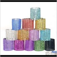 Rhineston anéis de plástico fivela encanto malha envoltório guardanapo anel servette titular el casamento mesa decoração ljja25201 kqu5a hveo2