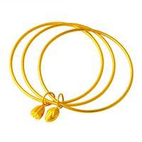Link, Chain Original 24K Gold Round Bracelet Set 2021 Fashion Frosted Lotus Pendant Charms Bangles Bracelets For Women Wedding Jewelry