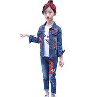 Abesay Outono roupas para meninas rosa jaqueta + jeans 2 pcs casual traje infantil criança adolescente inverno roupas 6 8 12 anos 210528