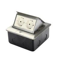 Pannello in argento in alluminio standard UE a 2 vie Pop-up Presa a pavimento presa elettrica Prese disponibili Nuovo