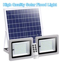 Double Head Lights Waterproof Outdoor Solar LED Flood Light with IR Remote Control Solar Garden Path Street Landscape Lamp