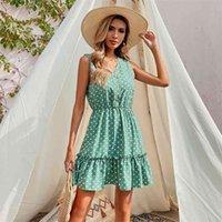 Summer Sleeveless Polka Dot Vest Short Dress Womens Clothing Sundress Ladies Casual Dresses For Woman Green 210517