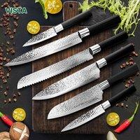 Chefmesser 6 Set Professionelle japanische Küchenmesser Hoher Carban Edelstahl Fleisch Kleader Frucht Paring Messer Chefmesser