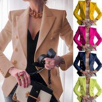 Women's Suits & Blazers Jacket Women Buttons Long Sleeve Solid Office Coat Cardigans Suit Outwear Work Lady Elegant