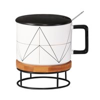 Mugs Male And Female Ceramic Cups High-capacity Student Mug With Lid Spoon Literary Breakfast Cup Office Water Coffee