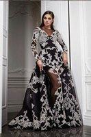 2020 Elegant Evening Dresses Rami Salamoun Appliqued High Neck Diamond Split Mermaid Sequins Long Prom Dress Real Images Cheap Formal Gowns