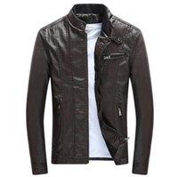 ربيع الخريف بو الجلود جاكيتات الوقوف طوق معاطف الذكور دراجة نارية ضئيلة قميص ملابس رجالي