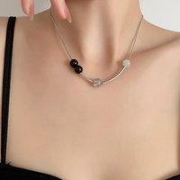 Цепи Gsold Creative Chic Coney Bead Choker Choker Choker Ожерелье Геометрическое Серебро Цвет Металлический Металлический Цепочка клавиш Женщины Модные Ювелирные Изделия 2021