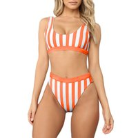 Piece Bikini Set Up Striped Printed Swimsuits High Waisted C...