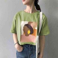 Sweetkama Mode T-shirt Femme Harajuku T-shirt graphique Caractère courte manches rondes col rond blanc vert beige été t-shirts 210401