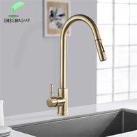 Shbshaimy Nickle Gold Cucina rubinetti in acciaio inox pull down streaming spruzzatore a sdraio per il lavello dell'acqua taps nero spazzolato 211025