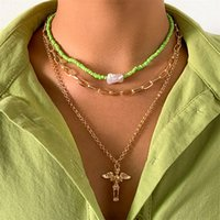 Yamog Retro Cross Jesus Portrait Pendant Necklaces Women Baroque Pearl Beaded Clavicle Chains European Multi Layer Thick Thin Collarbone Link Jewelry Gold
