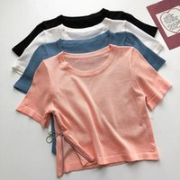 Top Woman Side Zipper Cropped Women's 2021 Summer Arrivals Are Thin Round Neck Sweater Outfits Solid Pullover Tops T-Shirt