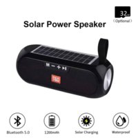TG182 Solar Power Bank Haut-parleur Bluetooth Portable Colonne sans fil Stéréo Boîte Musique Boombox TWS 5.0 Support extérieur TF / USB / AUX
