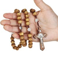 Pendant Necklaces Fashion Handmade Rosary Prayer Necklace Catholic Jewelry Religious Beaded Choker Hand-woven Cross