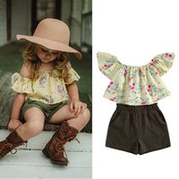 Kids Clothing Sets Girls Outfits Baby Clothes Children Suits Summer Cotton Flower Tops Blouses Shorts Pants Sweet 2Pcs 1-5Y B5060