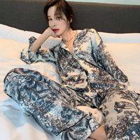 얇은 Womens 잠옷 잠옷 긴 소매 homewear 패션 실크 새틴 여성 잠옷 나이트웨어 생일 선물