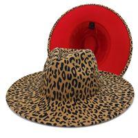 Wide Brim Hats Unisex Big Wool Felt Jazz Fedora Men Women Leopard Red Bottom Two Tone Trilby Panama Formal 2021