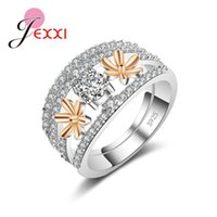 Cluster Rings Korea Style Trendy Fashion Rose Gold Flower 925 Sterling Silver Mother Sister Birthday Anniversary Gift