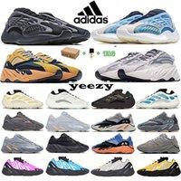 2021 Runner Kanye Alvah Static 700 Kadın Erkek Koşu Ayakkabıları V1 V2 V3 Güneş Parlak Mavi Batı Mnvn Kalsit Glow Yansıtıcı Oniks Katı Gri Yekoraite Eğitmenler Sneakers 36-46