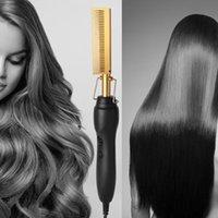 Çok fonksiyonlu Saç Düzleştirici Sıcak Isıtma Pürüzsüz Demir Tarak Düzleştirme Fırça Olukluk Curling Demir Saç Bigudi Tarak 210615
