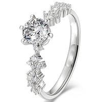Anillos clásicos de 4 garras con cristal Zircon Fashion Tendencia Joyería para mujeres Aniversario de compromiso de boda Regalo Día de San Valentín